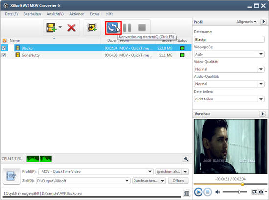 Xilisoft AVI MOV Converter Anleitung