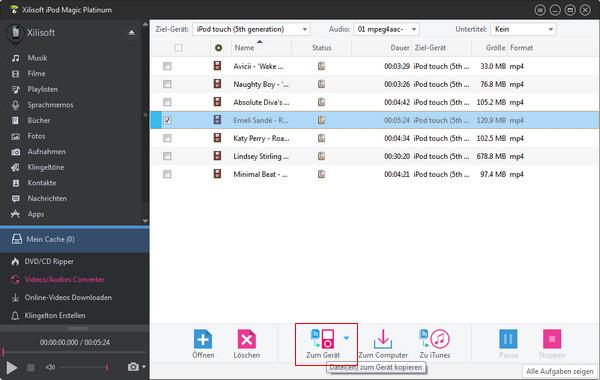 Inkompatible Multimediadateien zum iPod/iTunes senden
